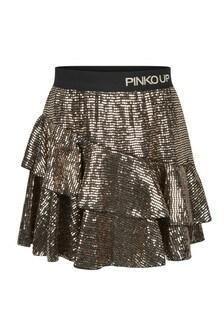 Girls Gold Sequin Skirt