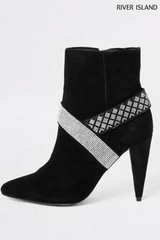 River Island Black Embellished Cone Heel Boots