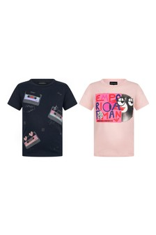 Girls Navy/Pink Cotton Jersey T-Shirts Two Pack