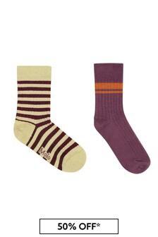 Girls Raspberry Cotton Socks Set 2 Pack