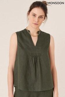 Monsoon Green Jasmine Linen Tank Top