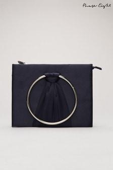 Phase Eight Blue Rhia Ring Clutch Bag