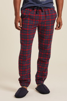 FatFace Red Belmont Check Cuff Joggers