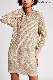 River Island Neutral Cosy Hoody Dress
