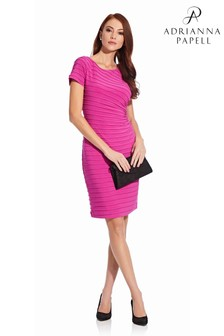 Adrianna Papell Pink Pintucked Draped Sheath Dress