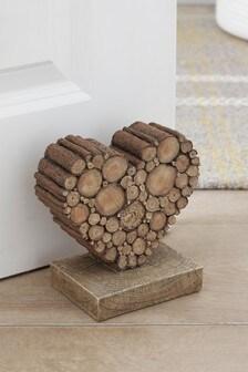 Wood Effect Heart Doorstop