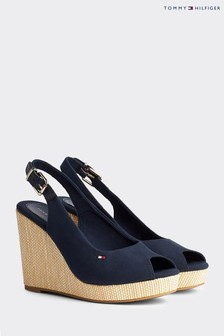 Tommy Hilfiger Blue Elena Slingback High Wedges