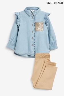 River Island Blue Sequin Denim Shirt Set