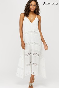 Accessorize White Lace Insert Maxi Dress