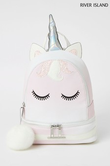 River Island Pink Light Unicorn Ombre Backpack
