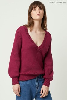 French Connection Pink Yasmina Mozart Knit V-Neck Jumper