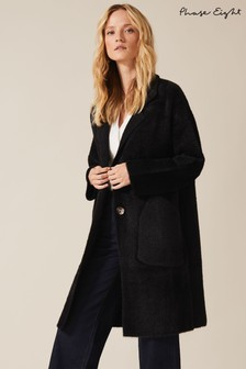 Phase Eight Black Floressa Fluffy Knit Coat