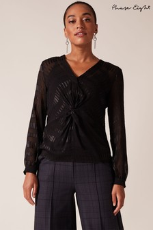 Phase Eight Black Shirley Jacquard Blouse