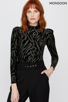 Monsoon Black Nadia Nailhead Velvet Top
