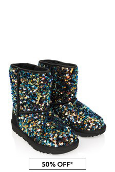 Girls Black Sequins Classic Boots