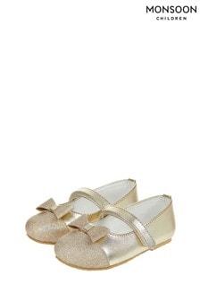 Monsoon Gold Baby Gracie Glitter Toe Cap Walker Shoes