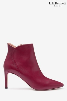 L.K.Bennett Red Maja Leather Ankle Boots