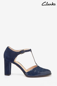 Clarks Navy Croc Kaylin85 T-Bar Shoes