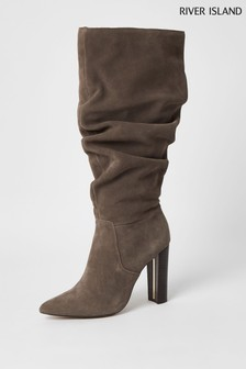 River Island Grey Dark Slouch High Leg Boots