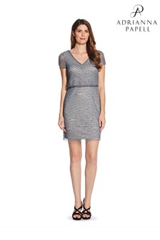Adrianna Papell Grey Blouson Beaded Short Dress