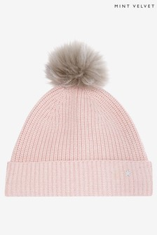 Mint Velvet Knitted Blush Pom Pom Hat