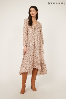 Warehouse Floral Swirl Ruffle Midi Dress