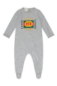 GUCCI Kids Grey Cotton Babygrow