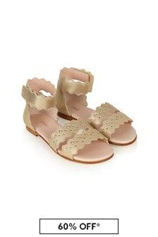 Chloe Girls Gold Leather Sandals