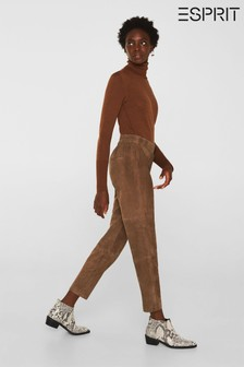 Esprit Brown High-Waist Leather Trousers