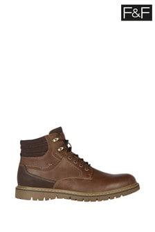 F&F Tan Fashion Plain Front Boots