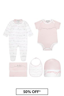 Baby Girls Pale Pink Cotton Gift Set