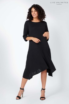 Live Unlimited Black French Crepe Dropped Waist Dress