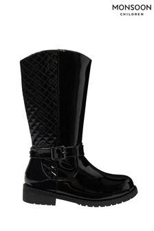 Monsoon Black Bernadette Buckle Riding Boots