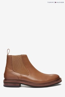 Tommy Hilfiger Brown Smooth Leather Chelsea Boots