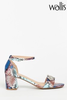 Wallis Savoy Blue Diamanté Trim Block Sandals