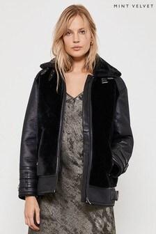 Mint Velvet Black Faux Fur Mix Easy Aviator Jacket