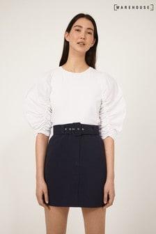 Warehouse Blue Belted Pelmet Skirt