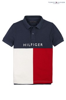Tommy Hilfiger Blue Branded Colourblock Poloshirt