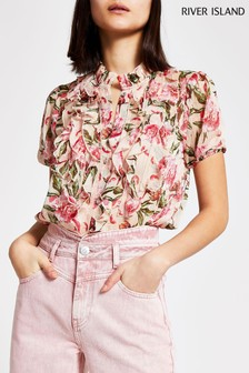 River Island Pink Light Print Ruffle Front Shell Top
