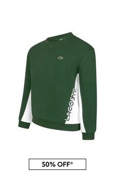 Lacoste Kids Boys Green Cotton Sweater