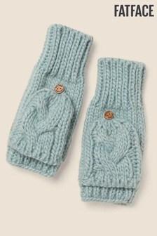 Błękitne rękawiczki dzianinowe z jednym palcem z klapką FatFace