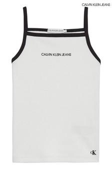 Calvin Klein White Rib Strappy Tank Top
