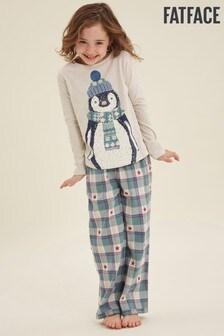 FatFace Grey Penguin Jacquard Pyjama Set