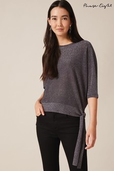 Phase Eight Grey Harper Side Tie Shimmer Knit