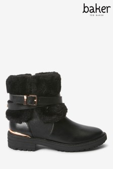 Baker By Ted Baker Black Faux Fur Cuff Collar Boots