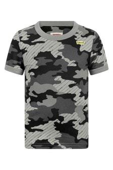 Boys Black Camouflage Cotton T-Shirt
