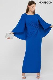 Monsoon Blue Cara Cape Maxi Dress