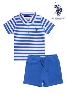 U.S. Polo Assn Blue Breton Stripe Polo And Shorts Set