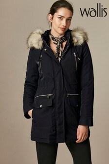 Wallis Black Parka Coat