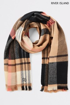 River Island Camel Check Mid Weight Scarf